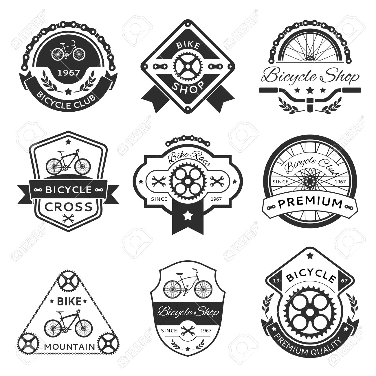 Bicycle labels emblems template set bike design sticker or stamp vintage element