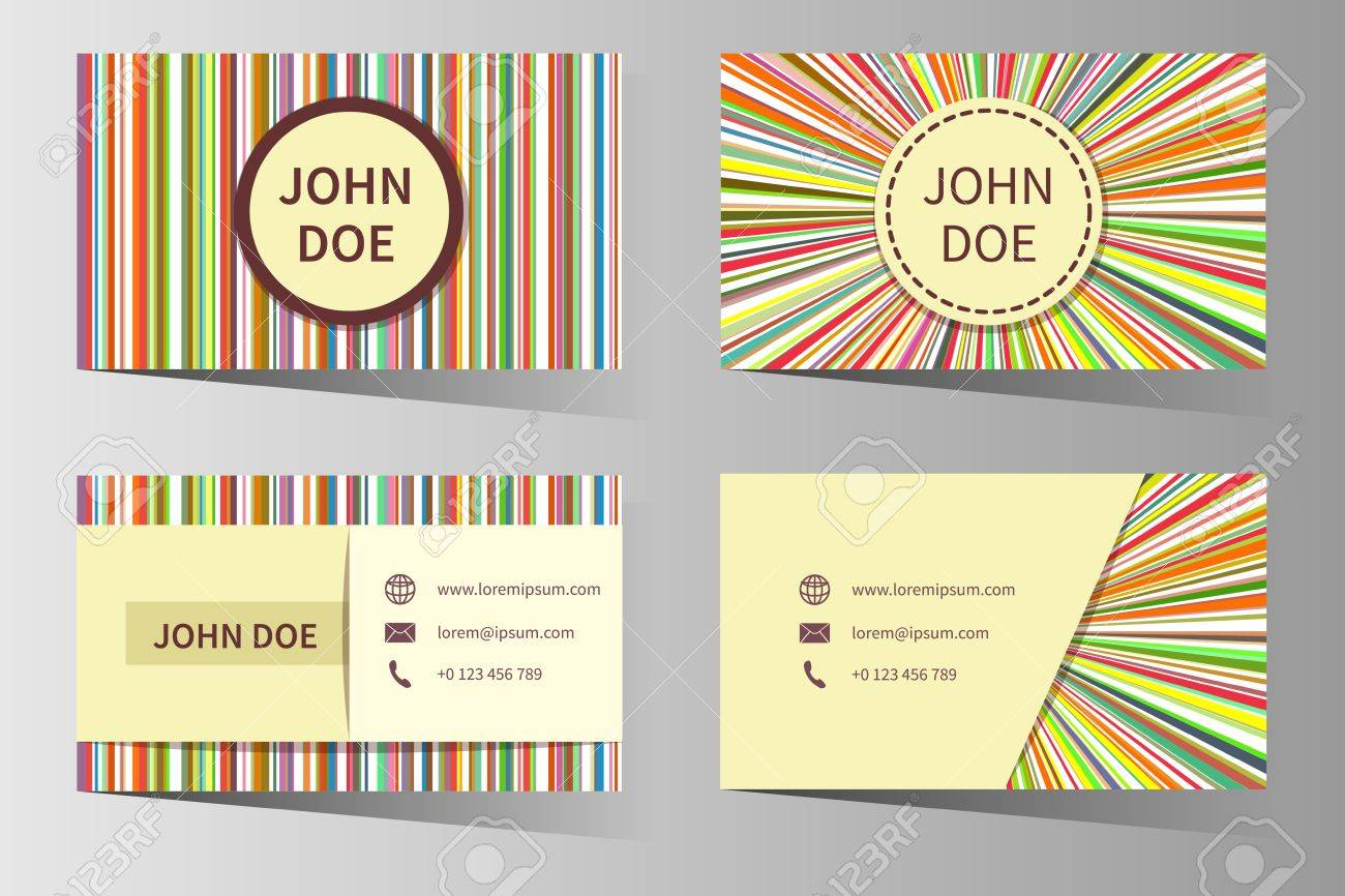 Business Card Templates With Rainbow Stripes Design. Contact ...