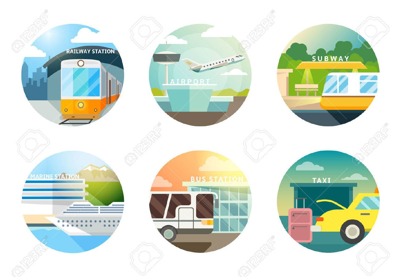Transport stations flat icons set. Transportation and railway, airport and subway, metro and taxi Stock Vector - 46823737
