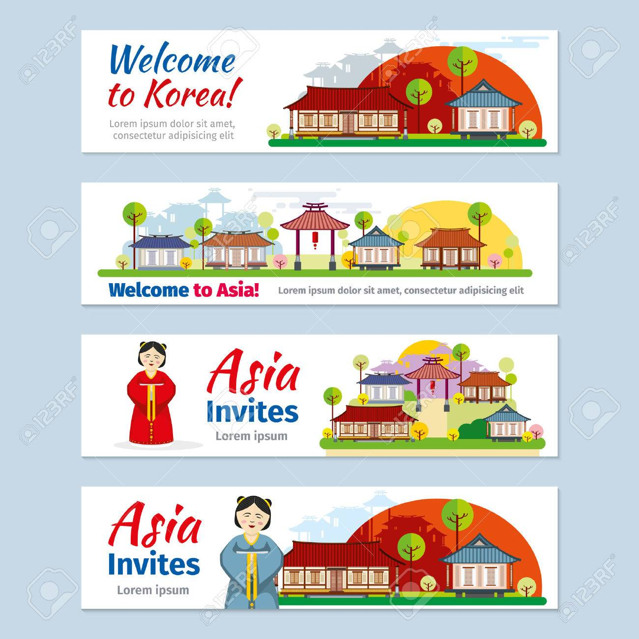 Korea japan thailand travel banners template set invitation korea japan thailand travel banners template set invitation to asia design card stopboris Image collections
