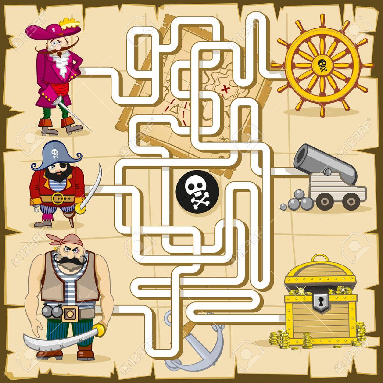 Top Maze Avec Les Pirates. Jeu Pour Les Enfants. Lecture Trouver Le  DF98