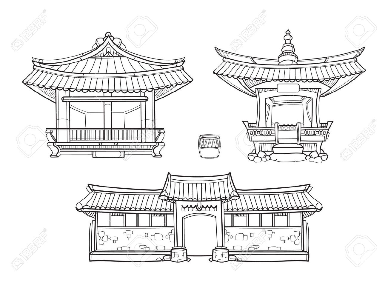 Hanok korean traditional architecture outline set palace house architecture asia village culture asian