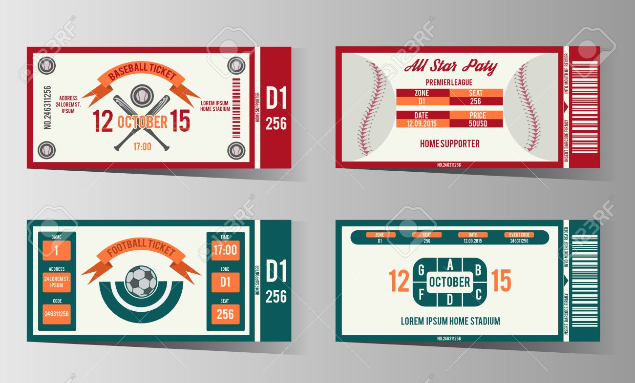 Fußball, Fußball Und Baseball-Design-Vorlage Ticket. Karte Einladung ...