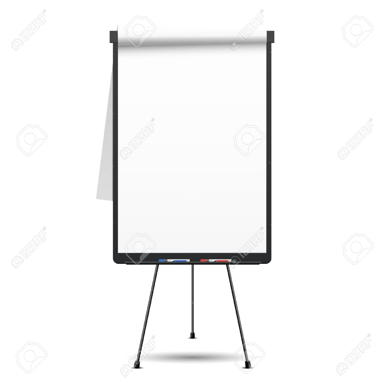 blank flip chart whiteboard and empty paper presentation and