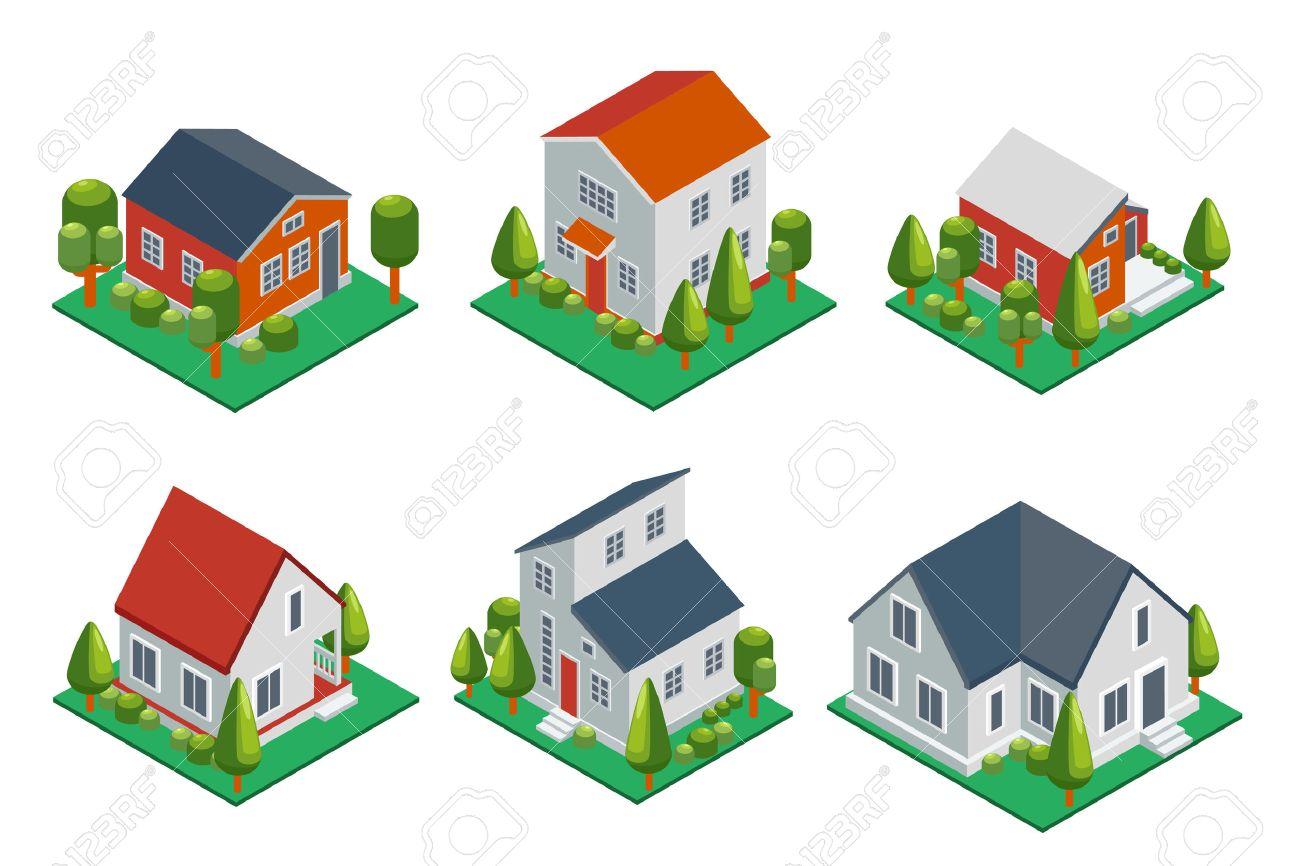 Die Isometrische 3D Privates Haus, Ländliche Gebäude Und Hütten Icons  Gesetzt. Architektur