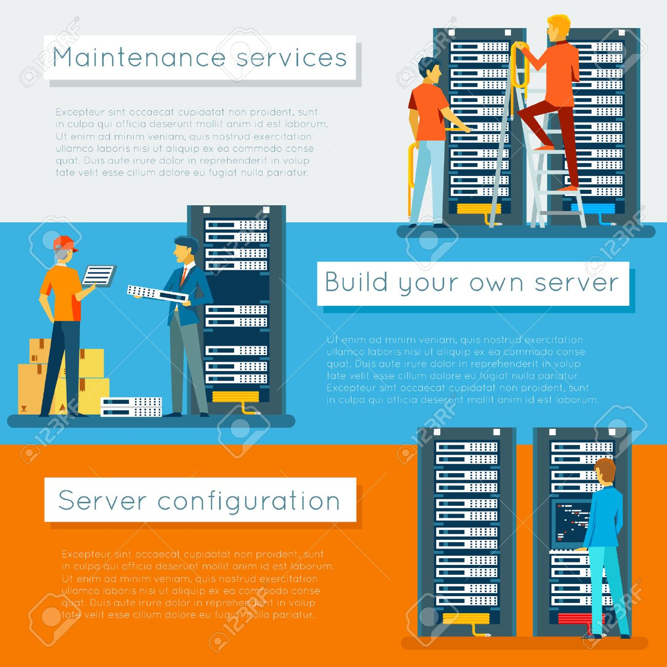 Data center and hosting vector banners set  Network internet