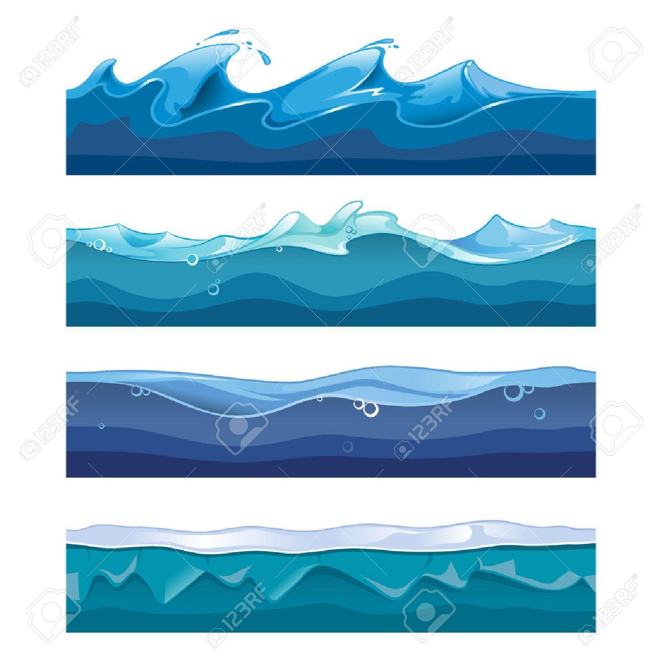 Vettoriale Oceano Senza Soluzione Di Continuità Mare Onde Di