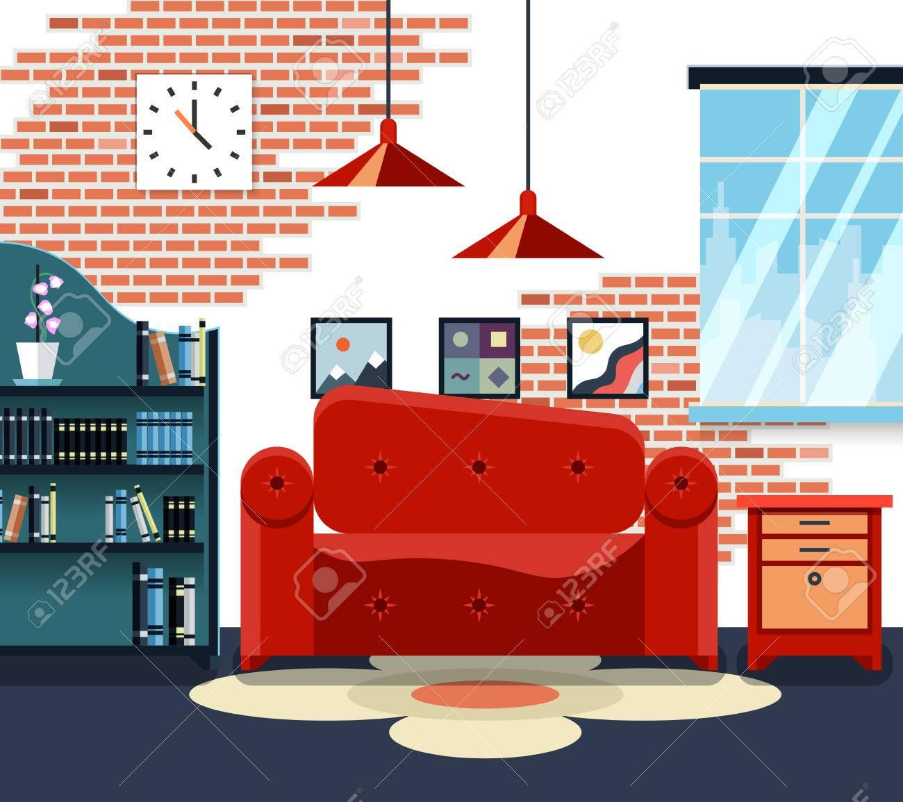 Wohnzimmer Mit Möbeln Und Lange Schatten. Design Dekoration, Lampe Und  Sofa. Vektor