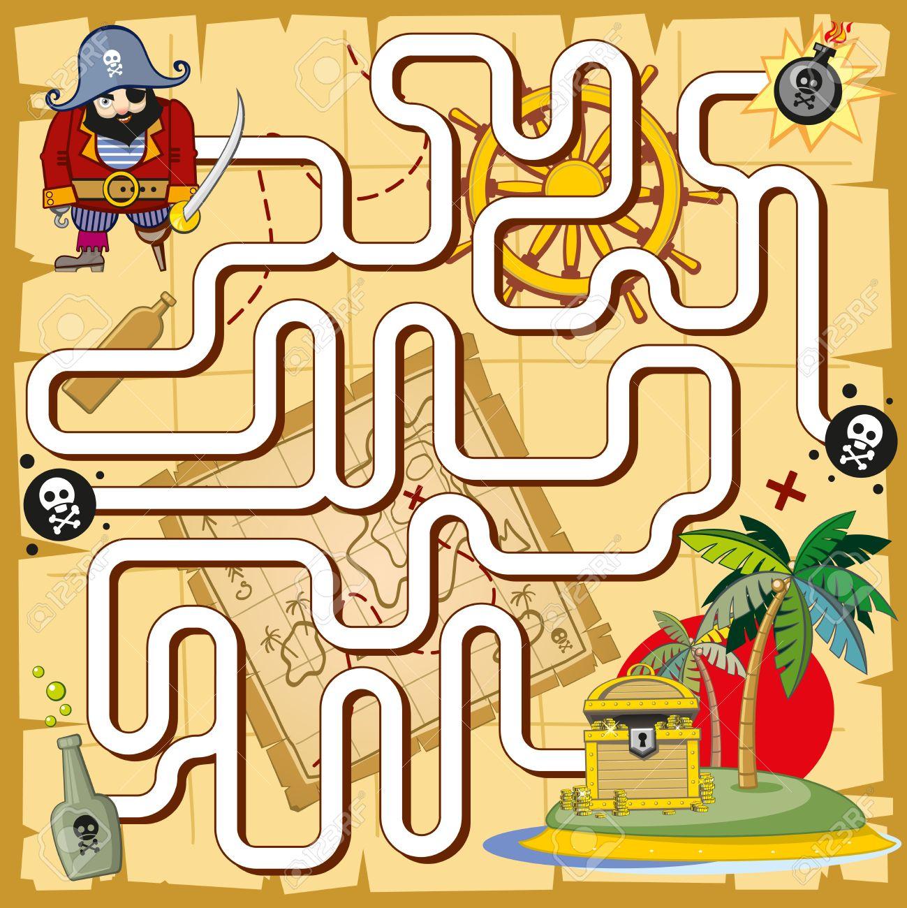 Mapa Del Tesoro Pirata Para Niños.Laberinto Pirata Juego De Laberinto Para Los Ninos En Edad Preescolar Juega Y Tesoro Mapa Y Prueba La Logica De Busqueda Ilustracion Vectorial