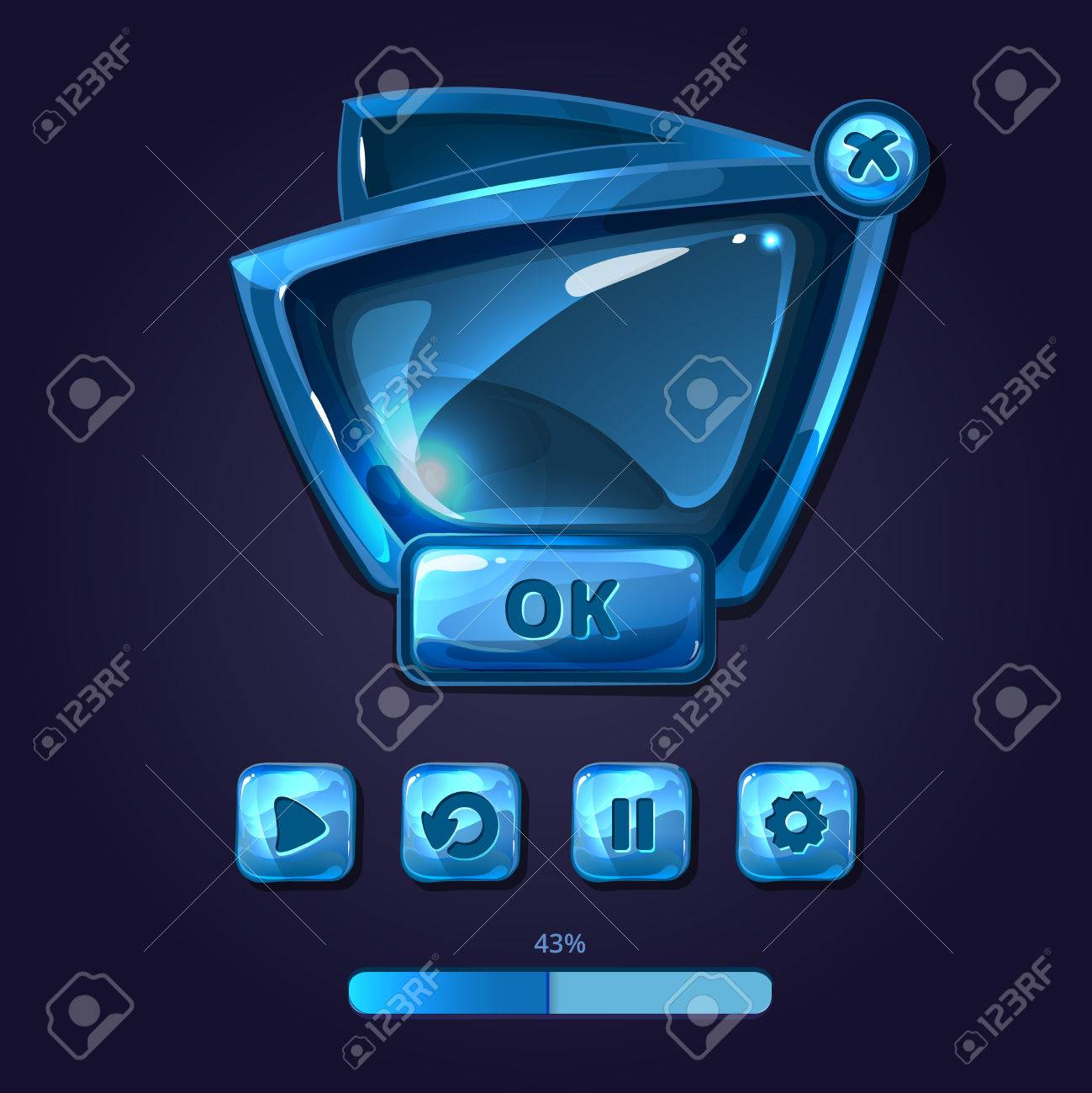 Glass panels and buttons game UI cartoon style  Interface glossy,