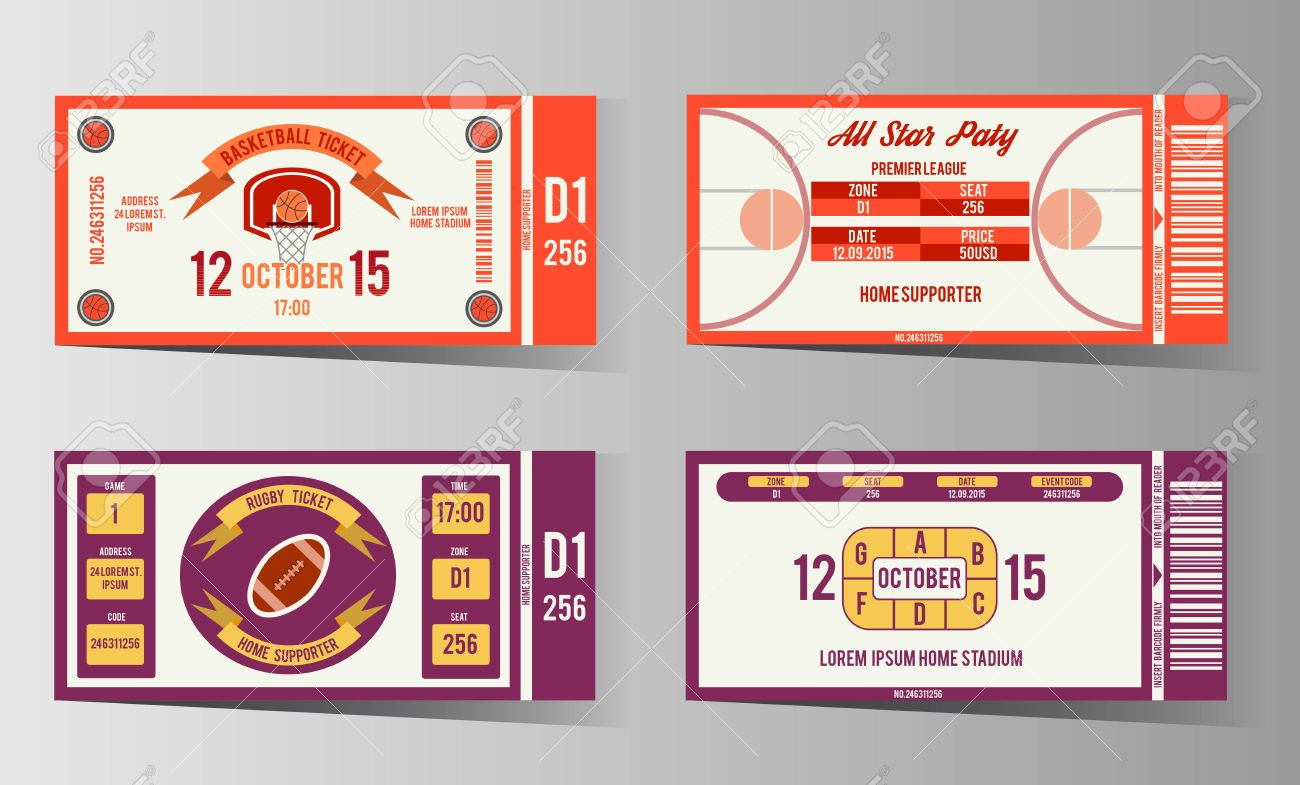Rugby And Basketball Ticket Design Template. Card Invitation ...