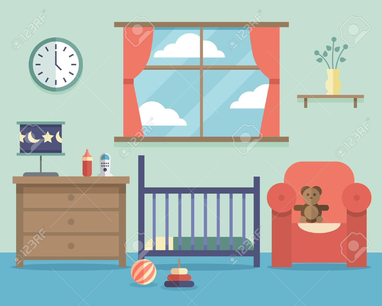 Nursery Baby Room Interior With Furniture In Flat Style. House Indoor  Design Bedroom, Vector