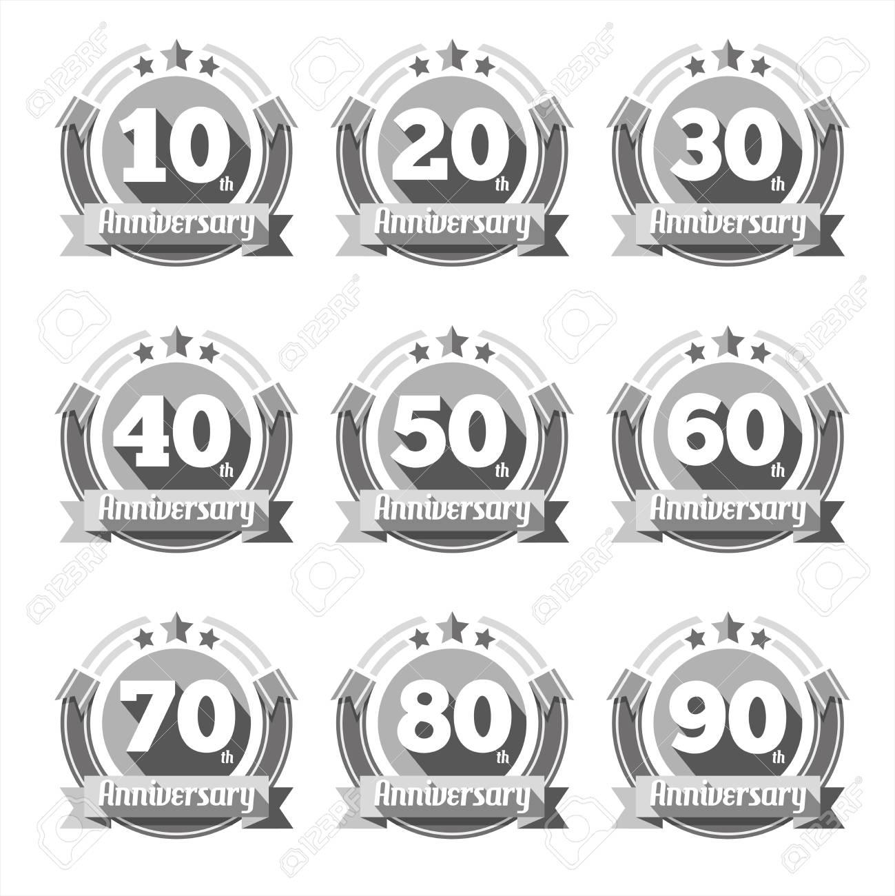 Anniversary Zeichen Vektor Gesetzt Zeichen Element Geburtstag
