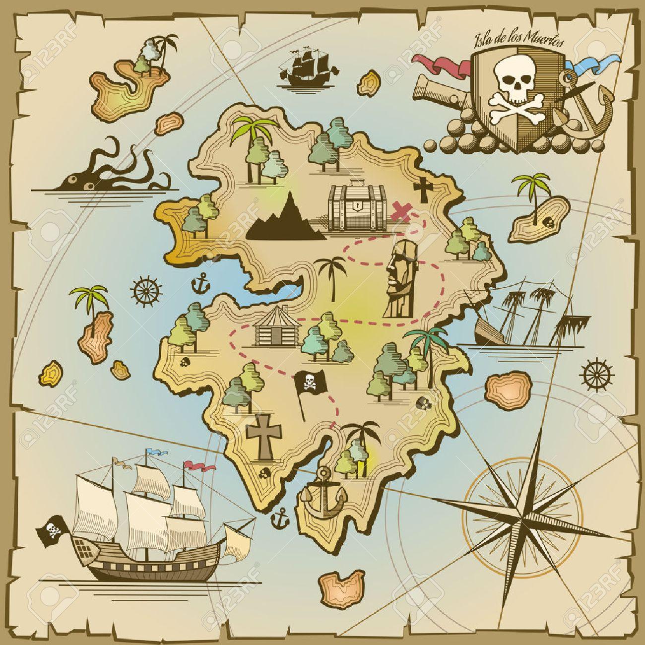 Pirate treasure island vector map. Sea ship, adventure ocean, skull and paper, navigation art and cannon illustration - 47419724