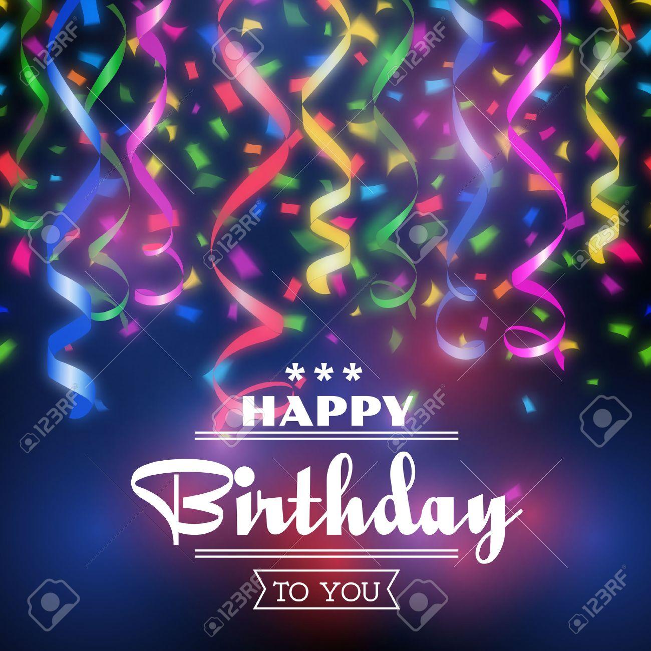 Typographic Happy Birthday Vector Background Design Celebration