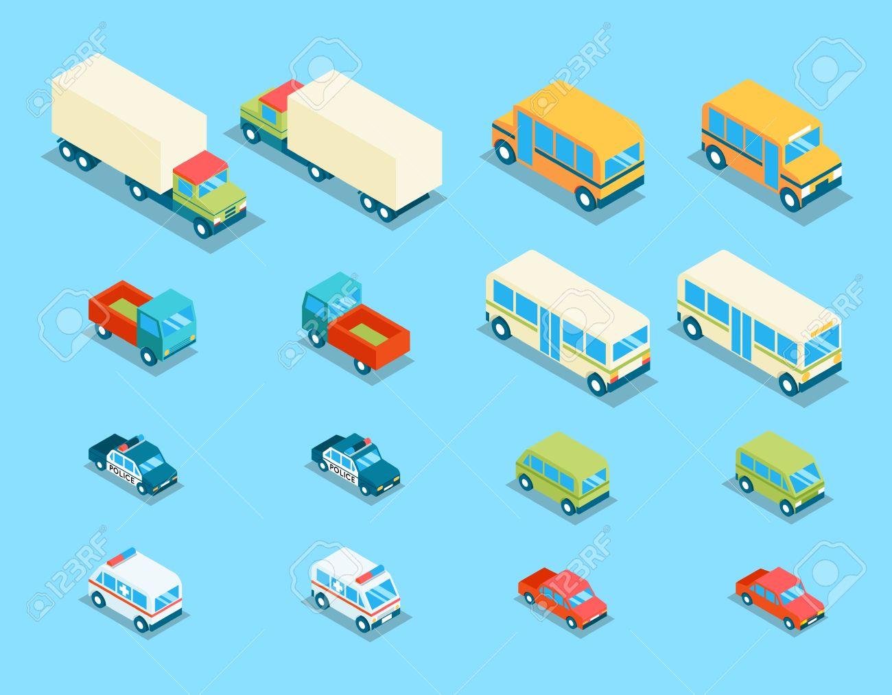 Isometric City Transport 3d Vector Icons Set. Transportation ...