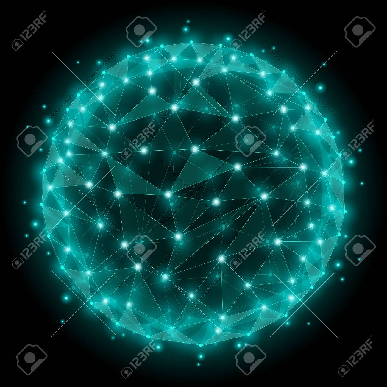 Abstract sphere wireframe mesh polygonal elements. Dot and web network, structure spherical. Vector illustration Stock Vector - 47823212