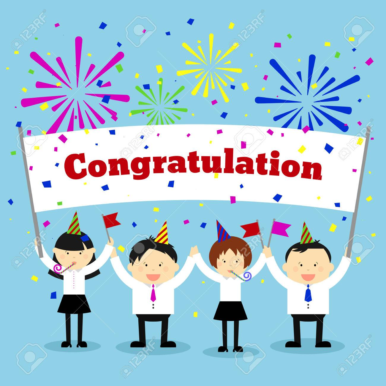 Businessmen holding congratulation sign business and banner businessmen holding congratulation sign business and banner message greeting vector concept background stock kristyandbryce Images