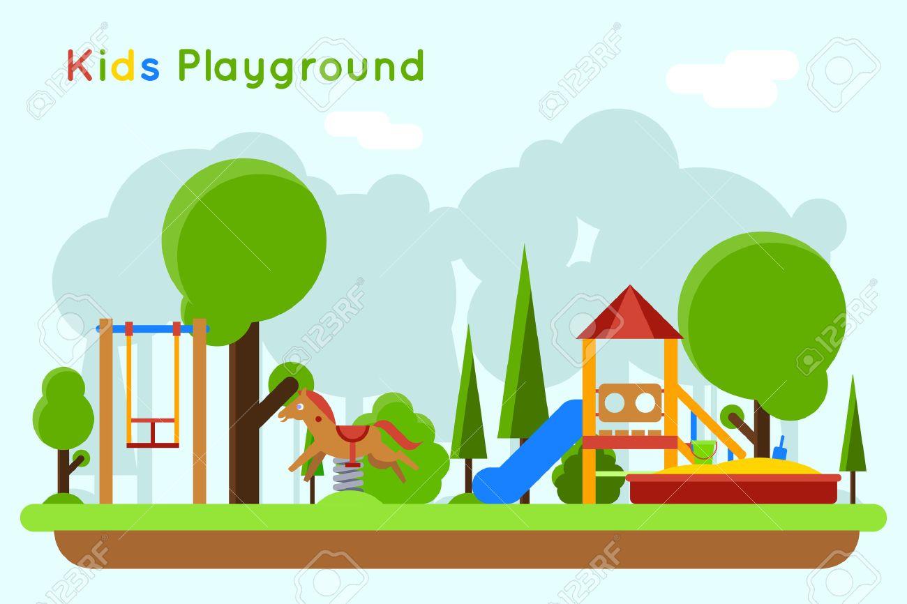 Juegos Infantiles Concepto De Fondo Plano Deslice Al Aire Libre De