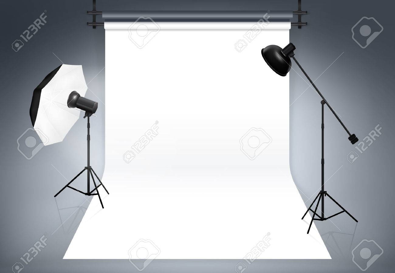 Photo studio background. Equipment for photography, flash and spotlight, vector illustration - 47823237