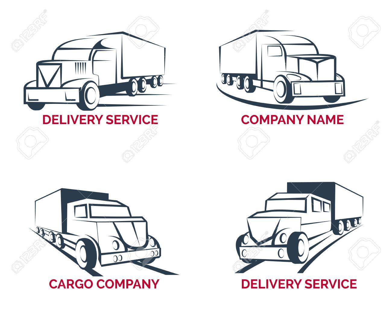 47823234 cargo truck delivery service logo templates set transportation van vehicle freight vector illustrati cargo truck delivery service logo templates set transportation