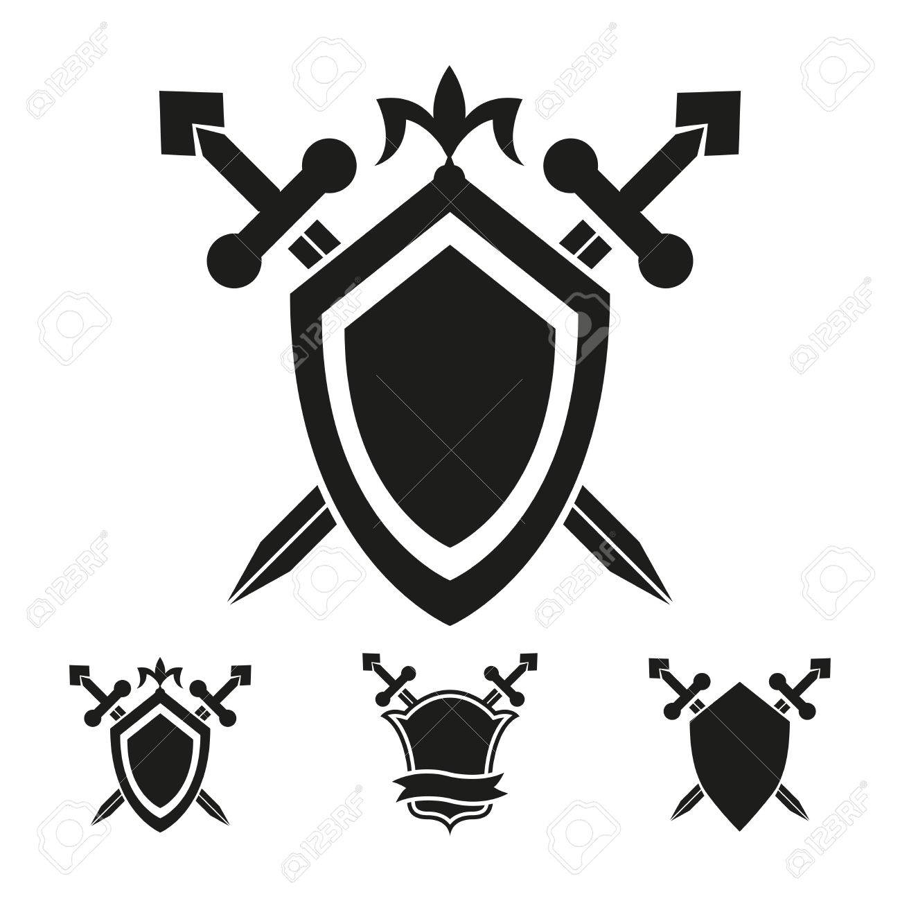 coat of arms medieval knight shield vector templates royalty free