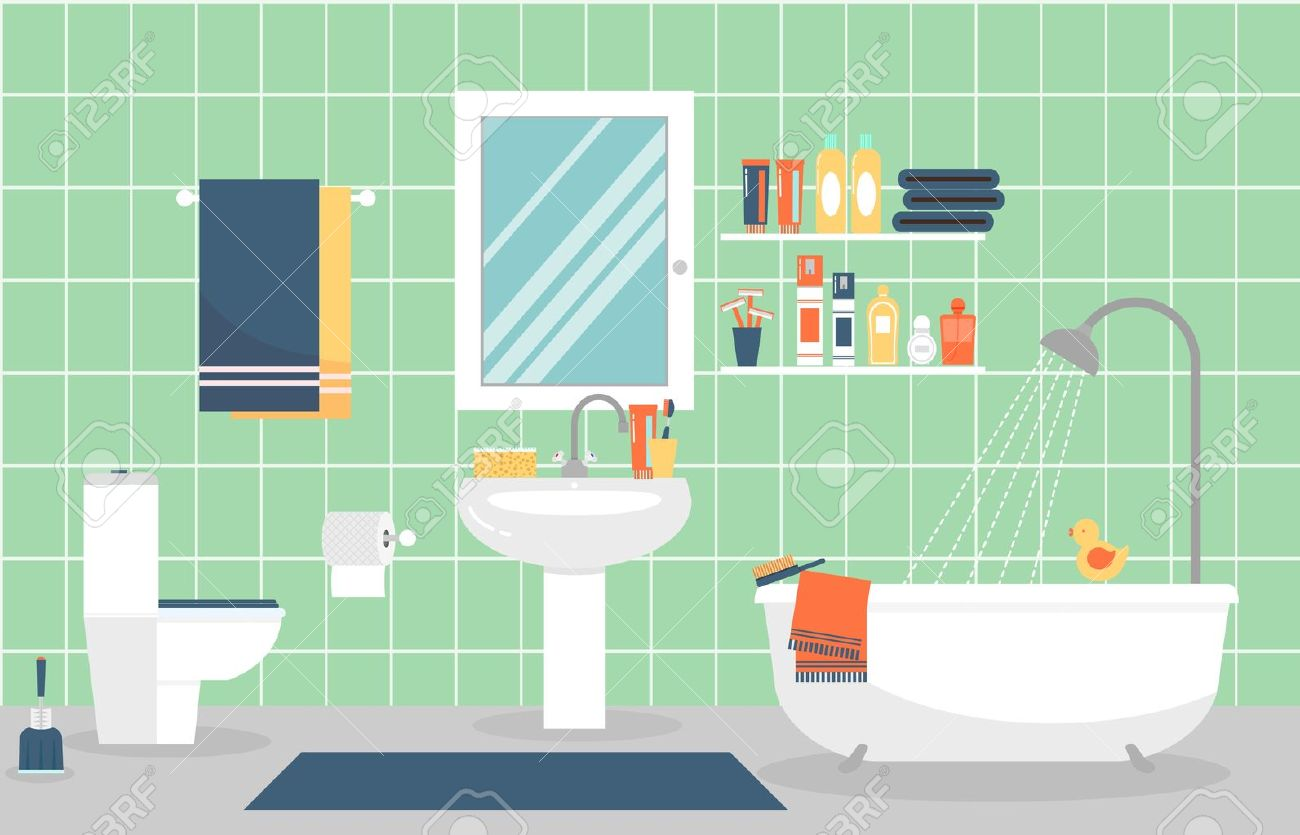 modern bathroom interior with furniture in flat style design modern bathroom toothpaste and toothbrush furniture in style