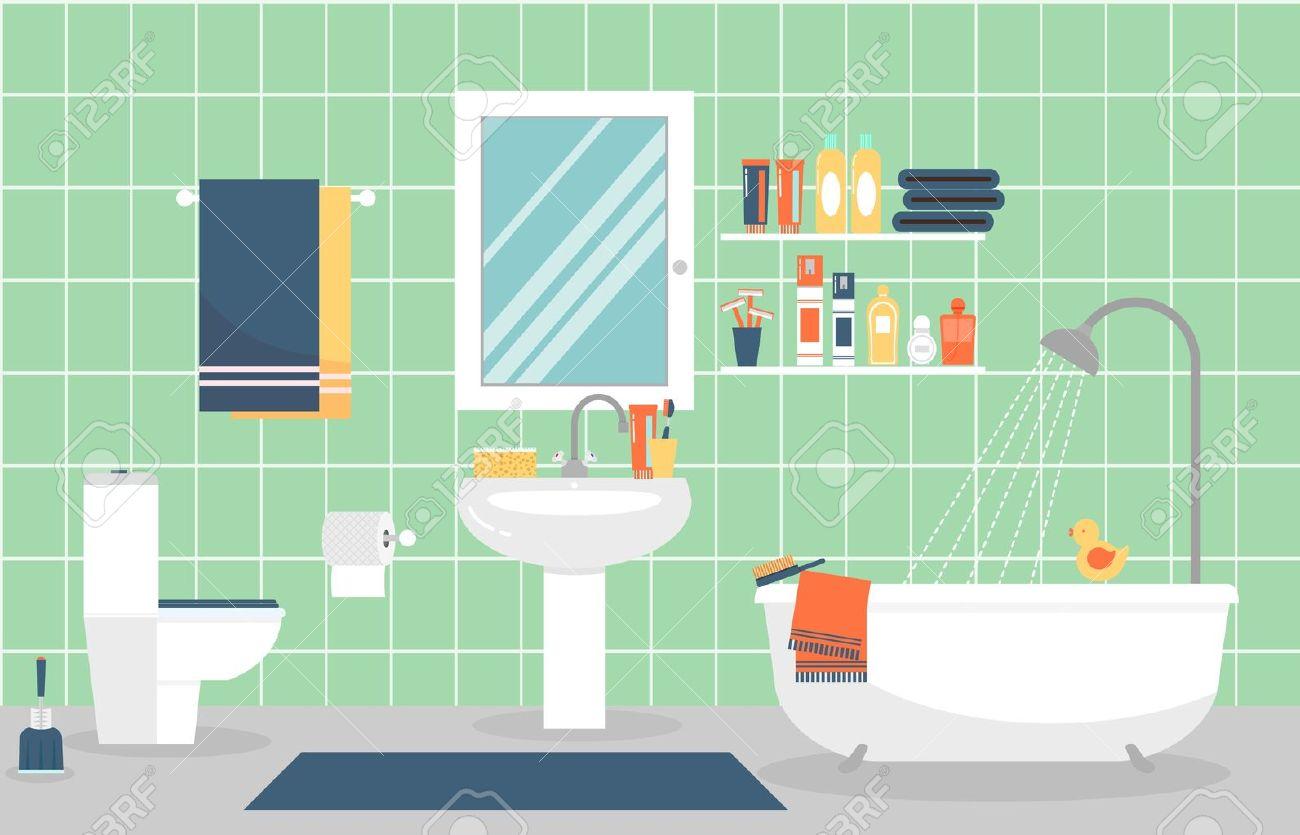 Intérieur de salle de bains moderne avec des meubles dans le style plat.  Concevoir salle de bains moderne, du dentifrice et brosse à dents, rasoir  et ...