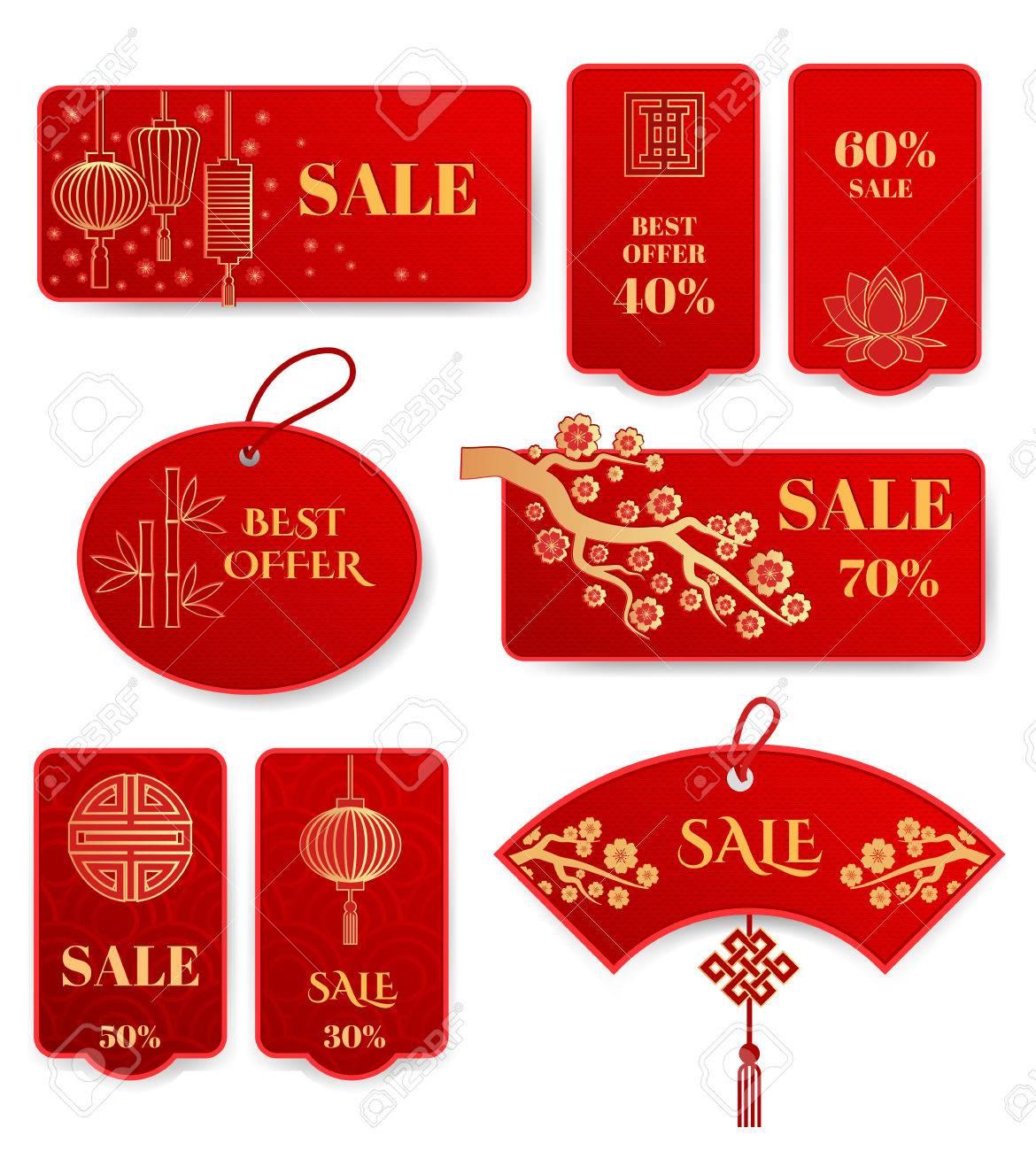Satz Von Verkauf-Banner Und Abzeichen Chinesische Neue Jahr ...