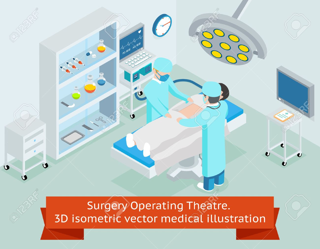 Surgery operating theatre. 3D isometric medical. Procedure in hospital, surgeon doctor, operation sterile, surgical healthcare, illustration - 48207036