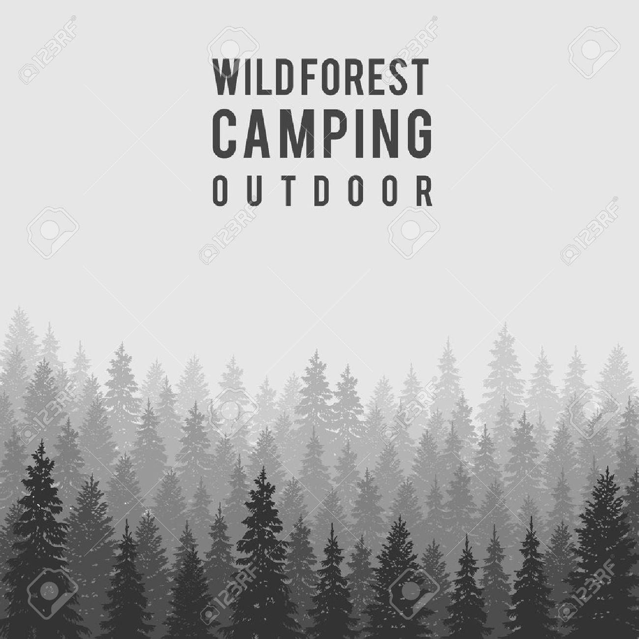 Wild Coniferous Forest Background Pine Tree Landscape Nature Wood Natural Panorama Outdoor Camping Design Template Vector Illustration Kliparty Vektory I Nabor Illyustracij Bez Oplaty Otchislenij Image 48509666