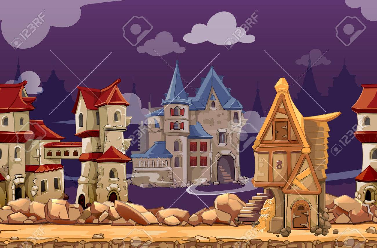 Medieval city seamless landscape background for computer game. Interface panoramic, gui city or town, vector illustration - 48510752