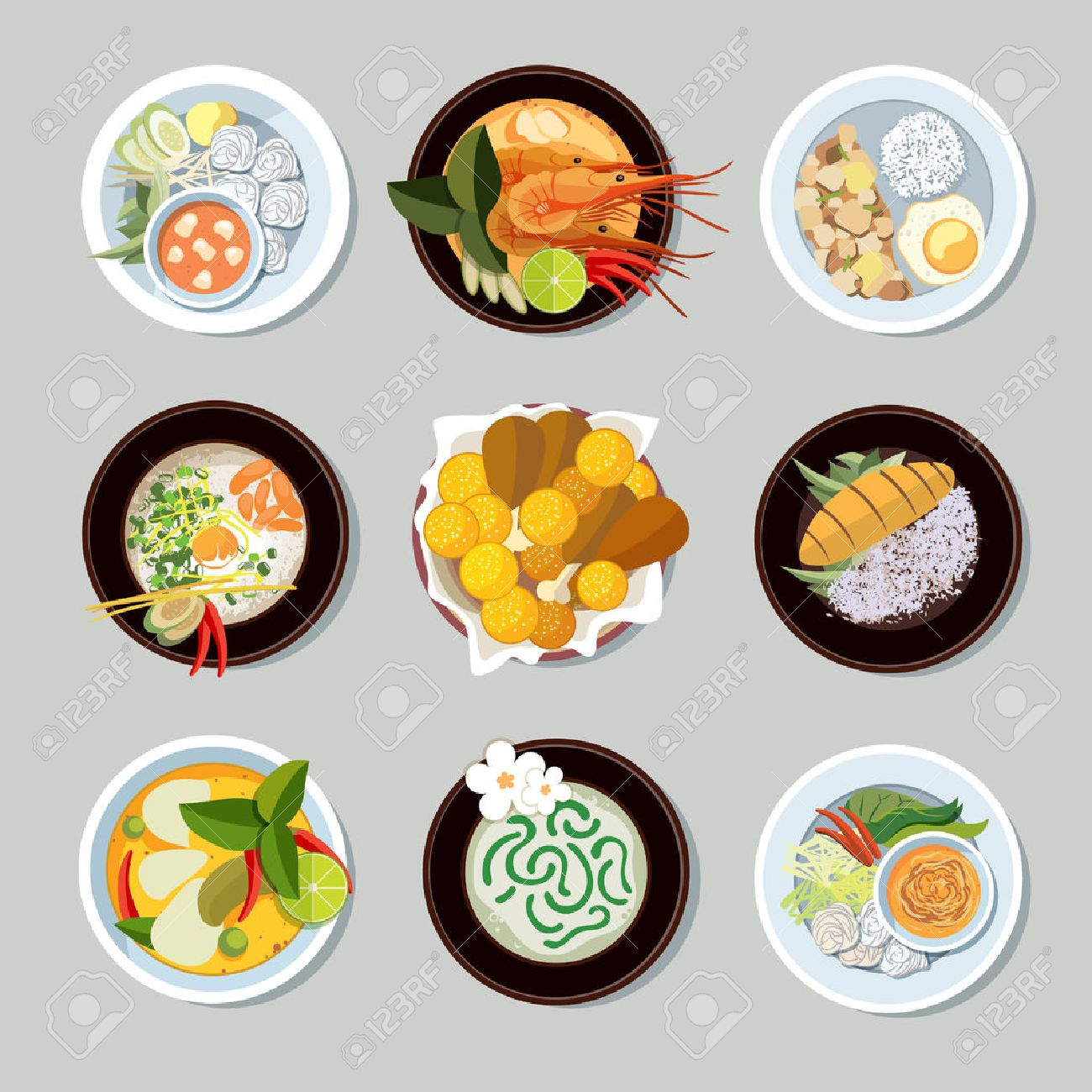 Thai food icons set. Shrimp and traditional restaurant, cooking and menu, vector illustration Stock Vector - 48510755