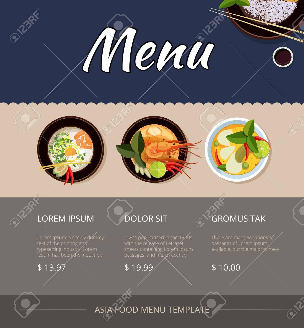 Thai-Food-Menü-Vorlage Design. Preis Und Kaufen, Garnelen Und Küche ...