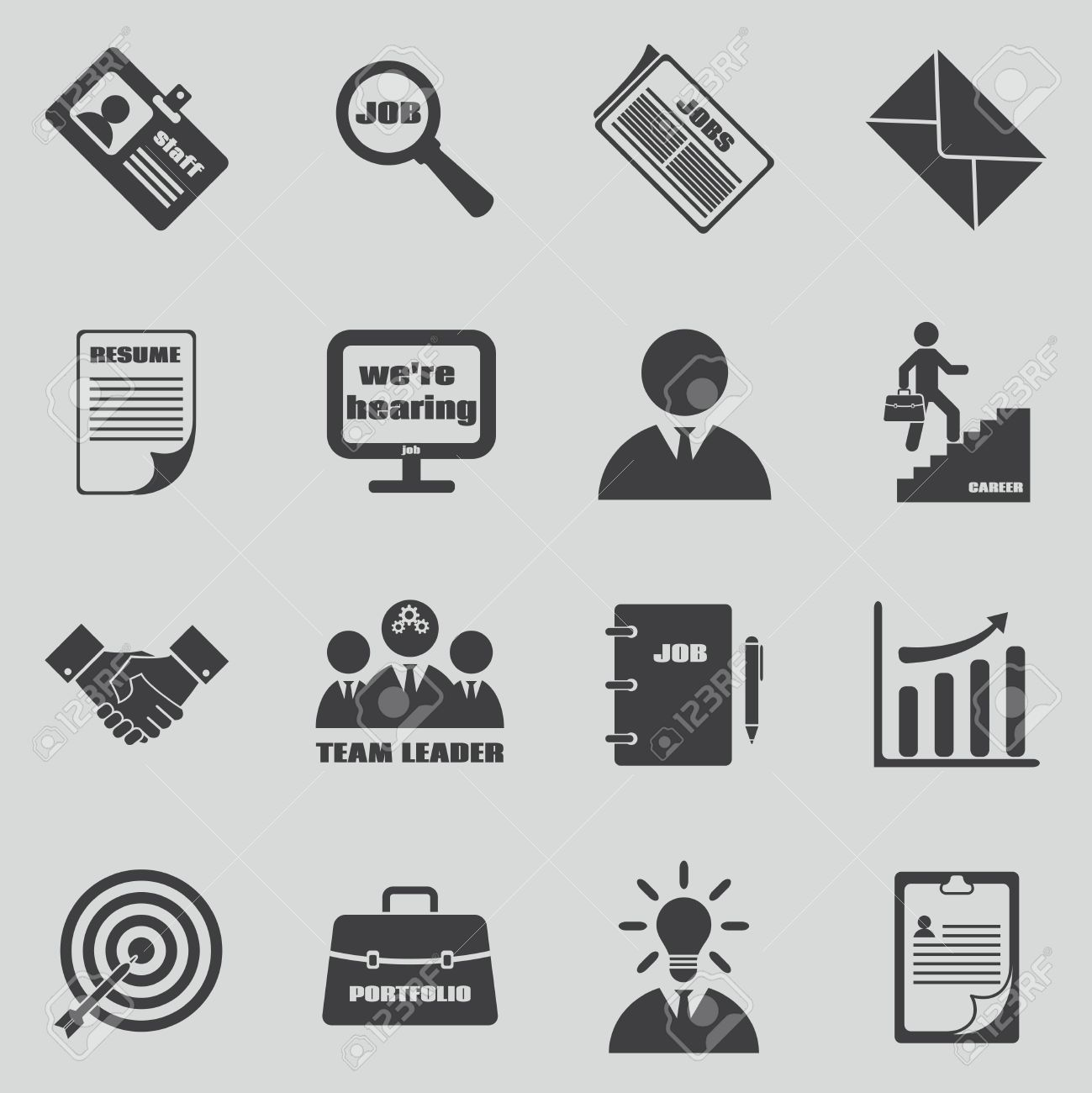 Job Icons Set Human Resources And Employment Symbol Team Leader