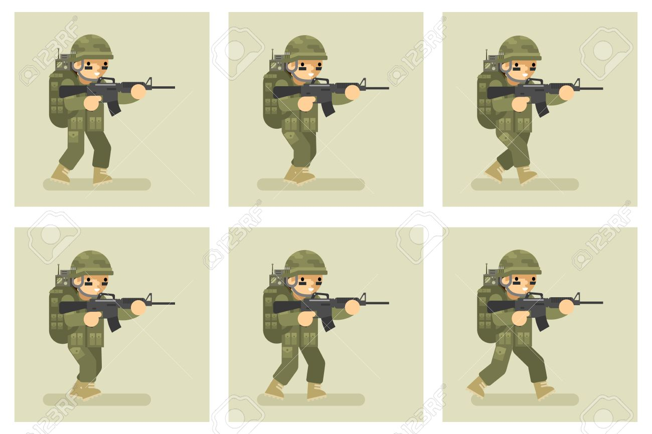 Soldier Flat Design Run Animation Frames. Military Army, Man ...
