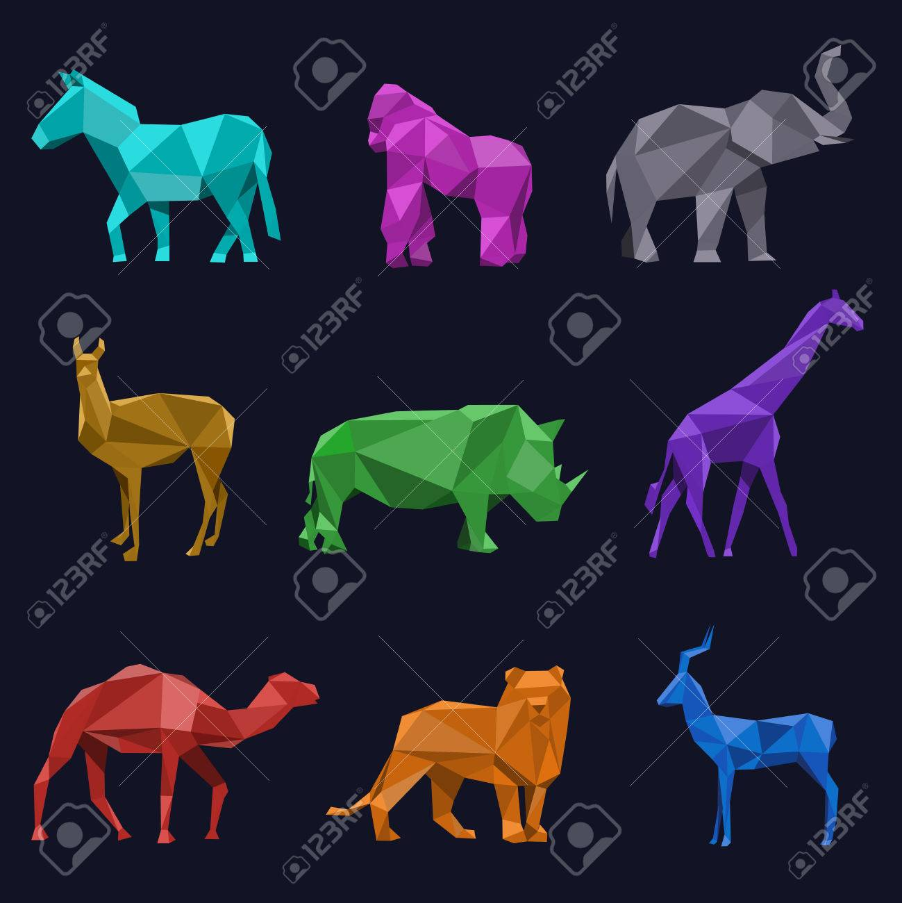 Animals low poly. Roe and lion, rhino camel elephant gorilla and giraffe, vector illustration Stock Vector - 49251456
