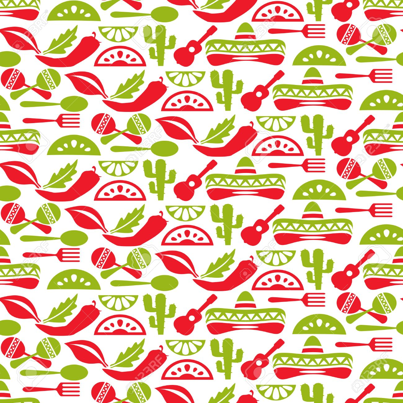 Mexican pattern  Fiesta and sombrero, seamless background, mexico