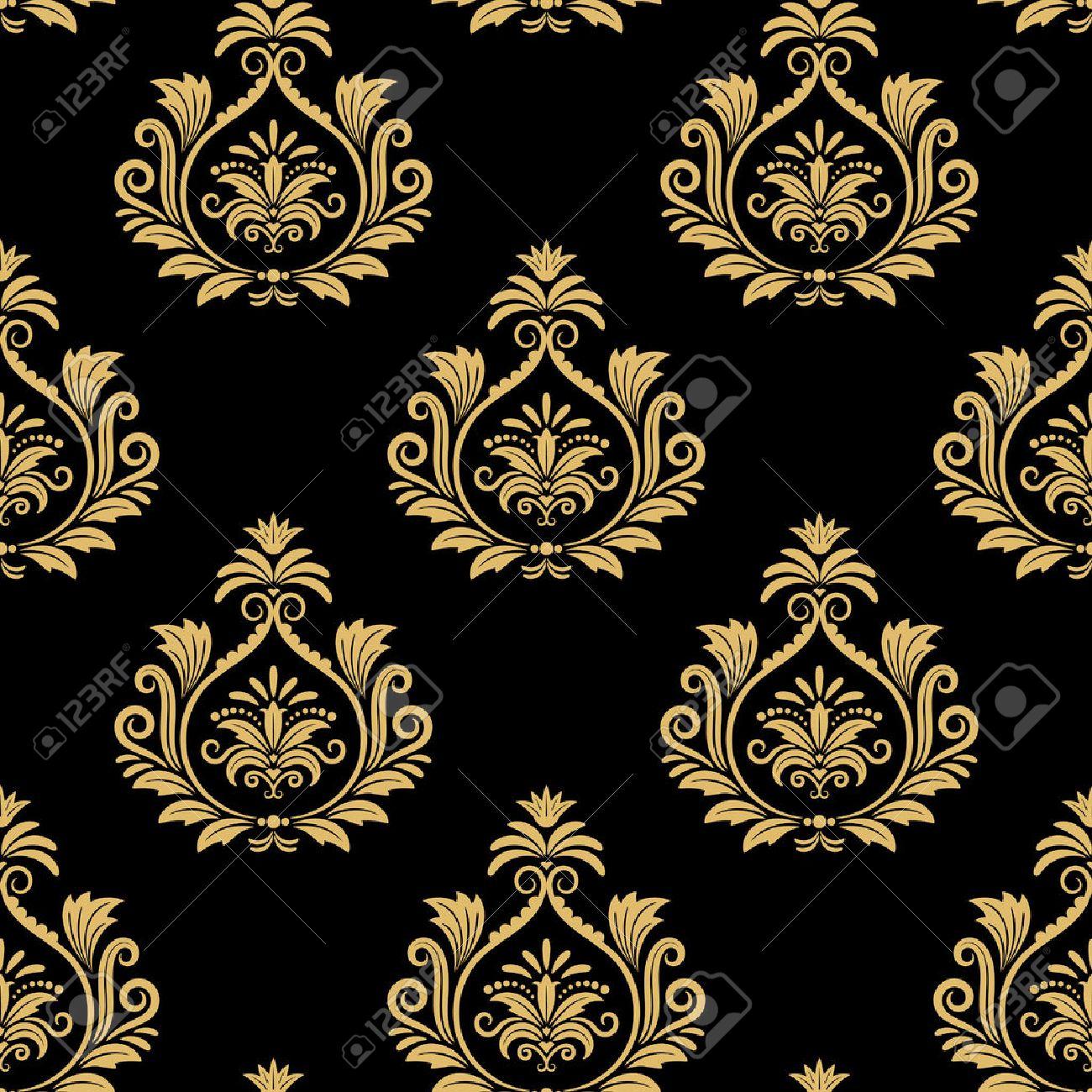 Fond Baroque Seamless Or Damasse Motif Vintage Sur Le Noir Clip Art
