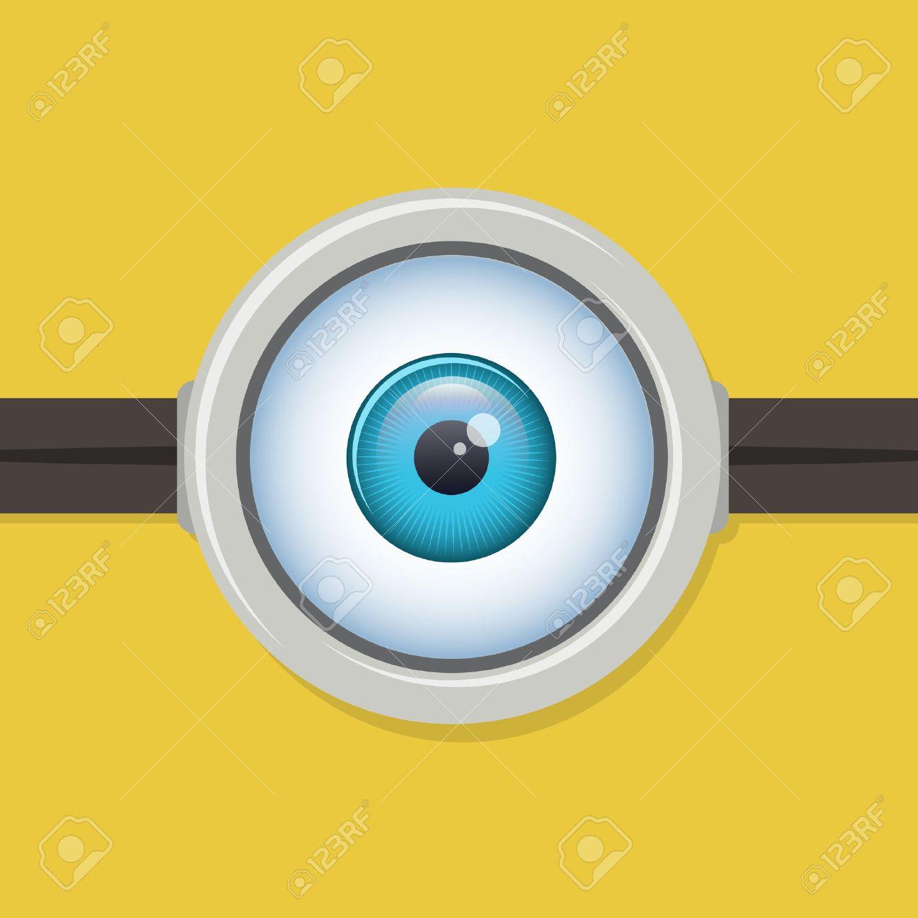 One Eye Glasses Or Goggles Minion Yellow Closeup Lens Eyeball