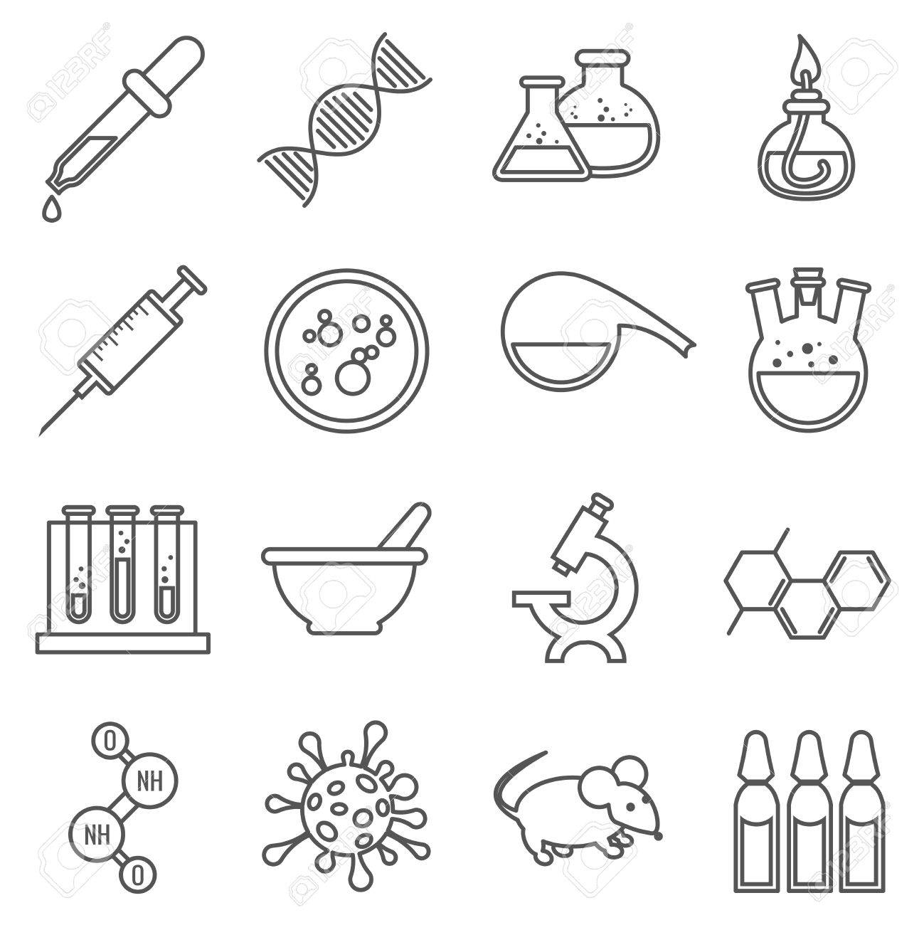 Iconos De Línea Laboratorio Médico Clínico. Microscopio Y ADN, La ...