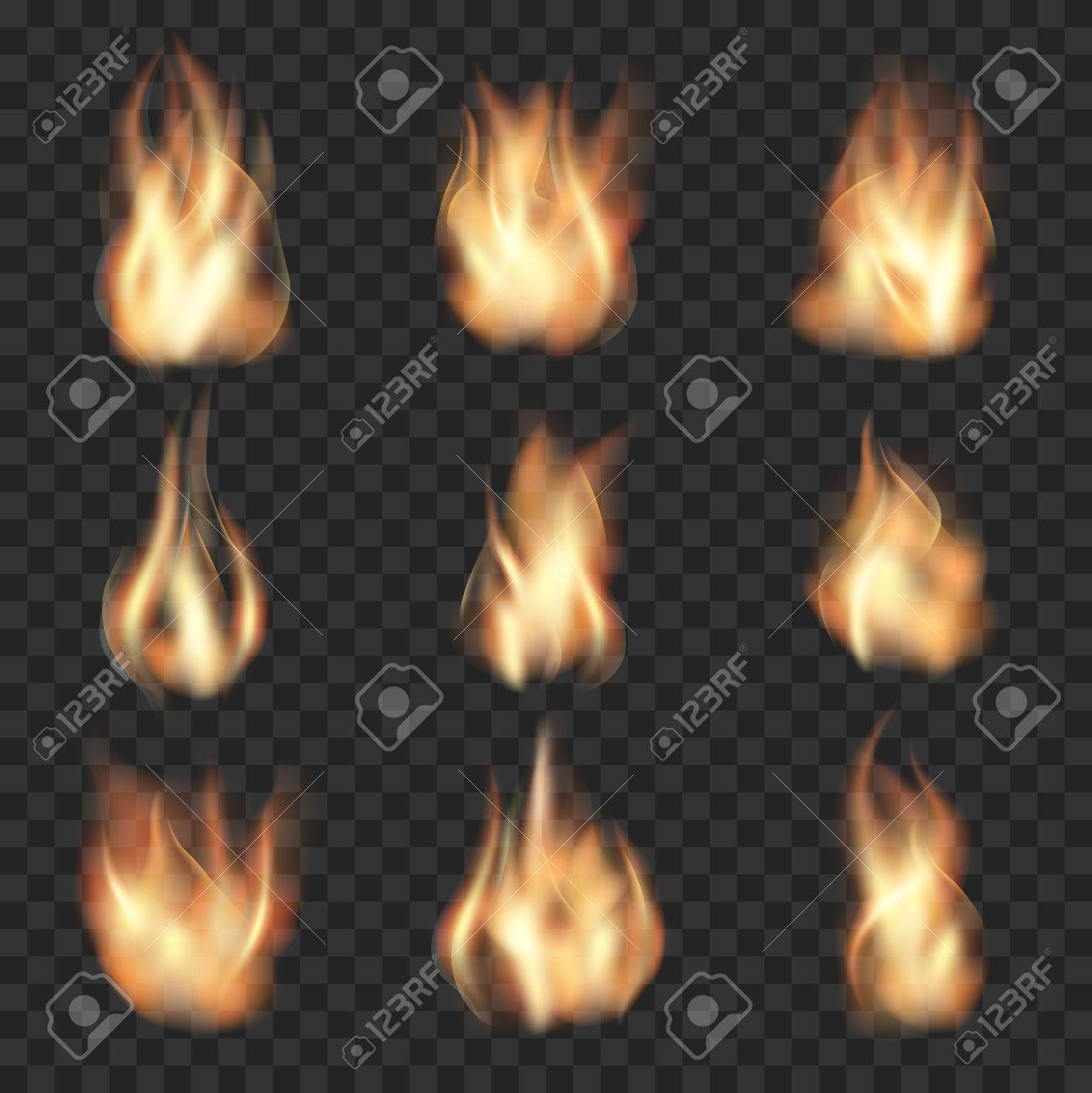 Realistic fire flames on checkered transparent background. Burn hot, heat flame, wildfire energy, vector illustration - 49781804