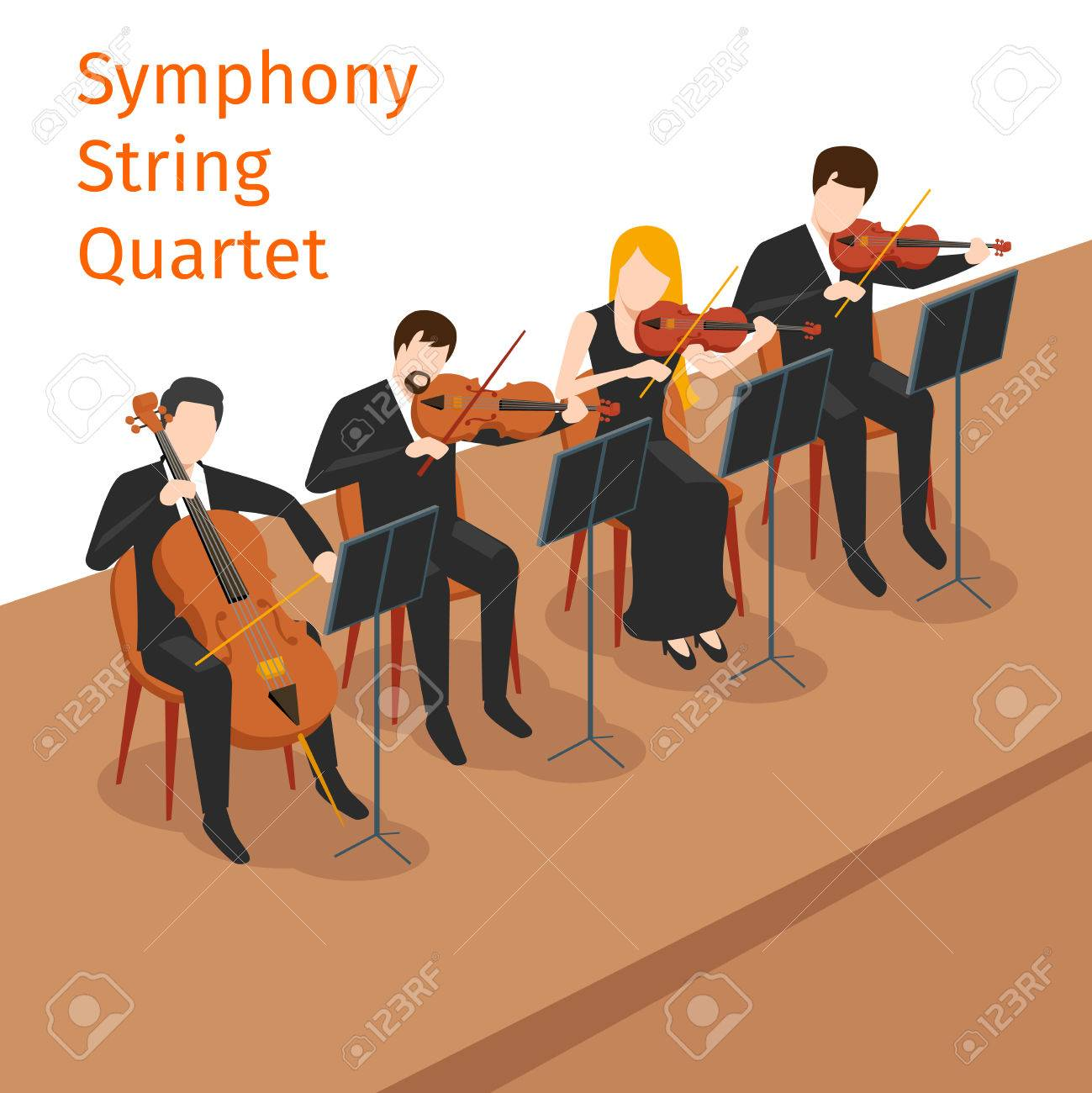 Symphonic orchestra string quartet background concept  Music