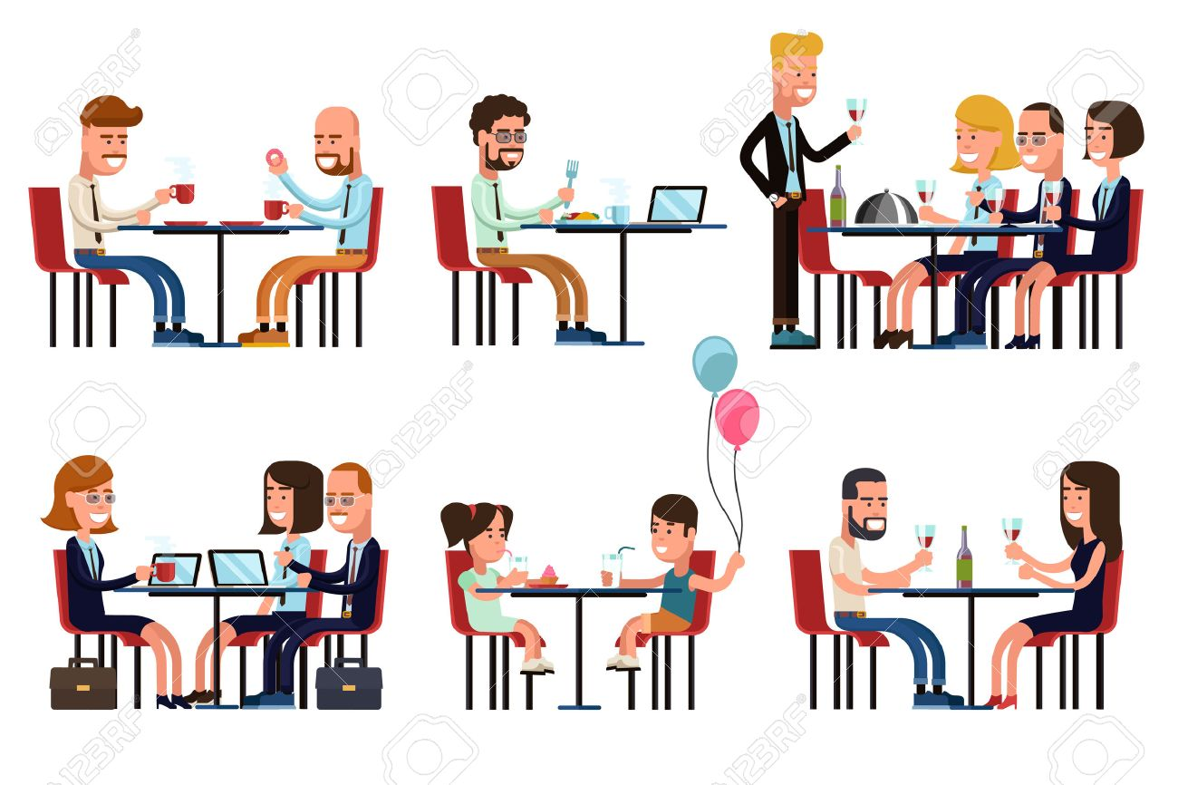 People eating and talking in restaurant or coffee shop. Flat style icons set. Food and drink, sitting businessman, business gossip, children meeting, vector illustration Foto de archivo - 50193922