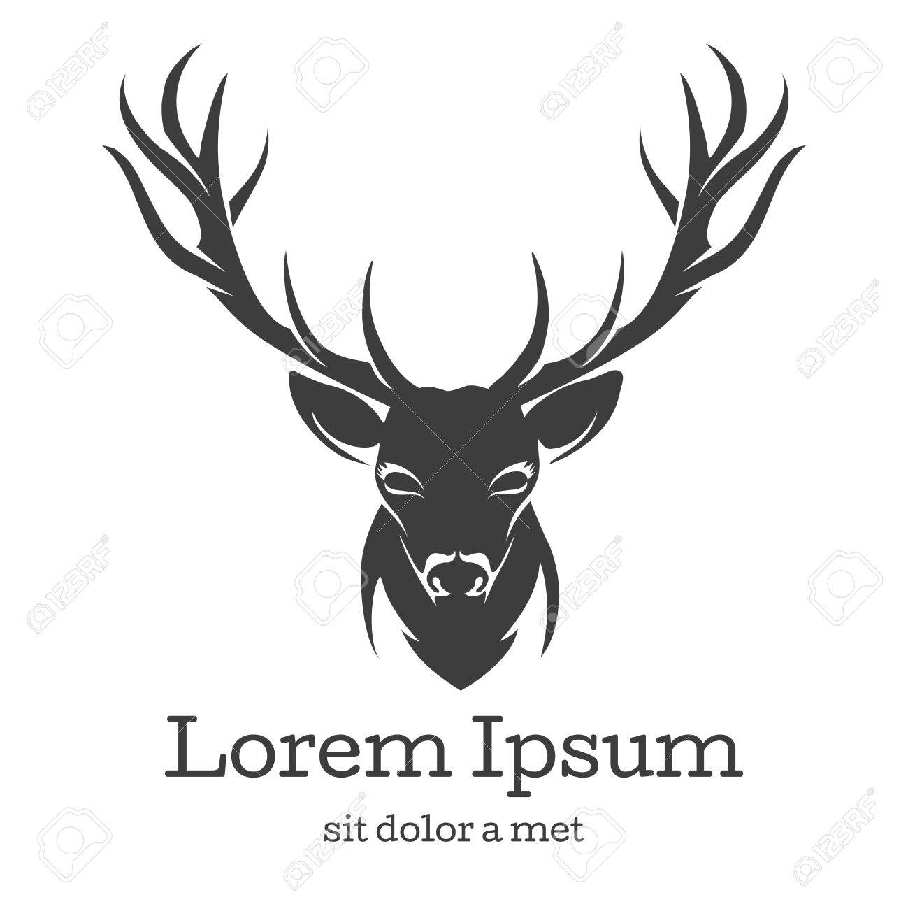 Deer Head Emblem Animal With Horn Nature Wildlife Mammal Reindeer Vector Illustration