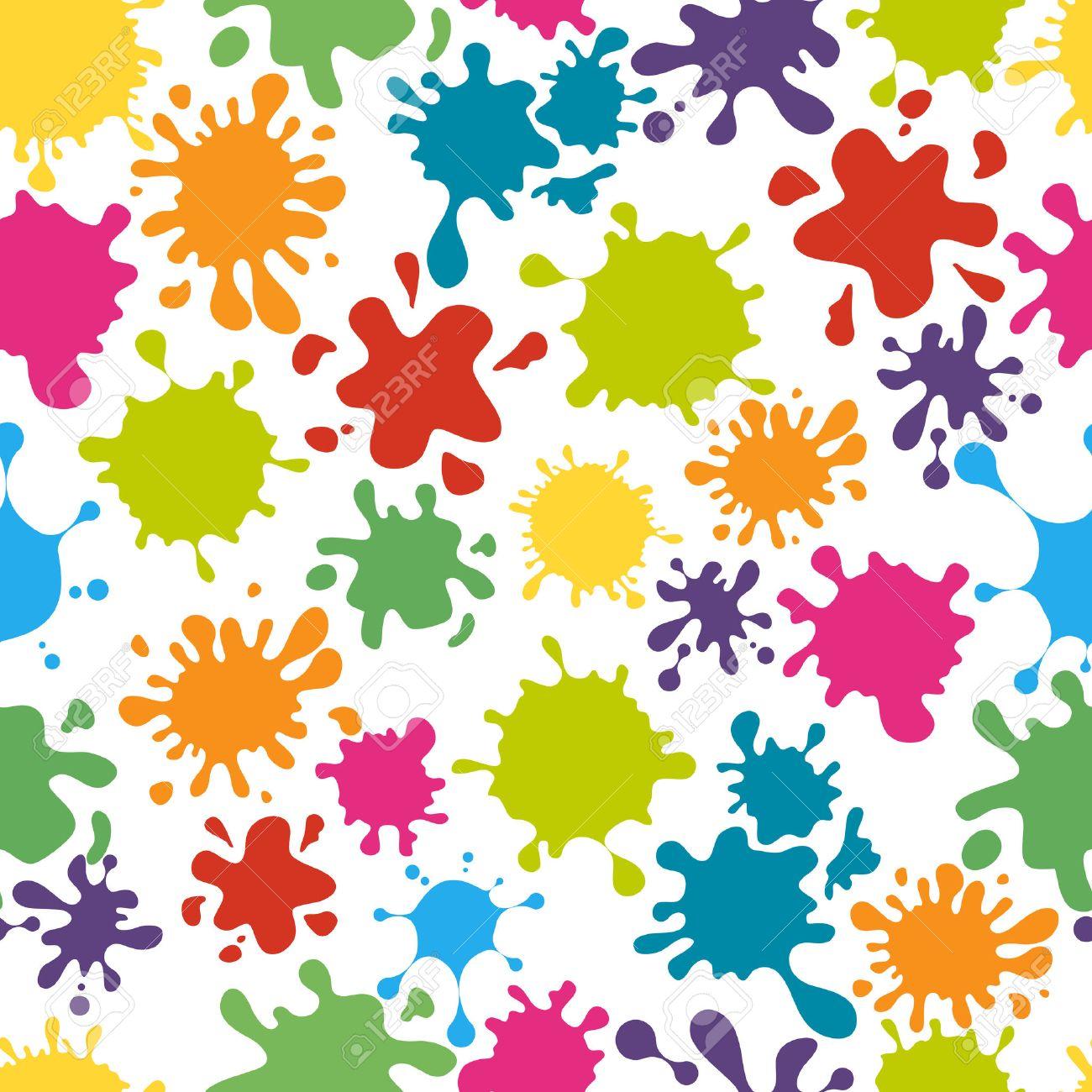 Paint splats pattern seamless. Rainbow colorful messy dirty splatter, vector illustration - 50194065