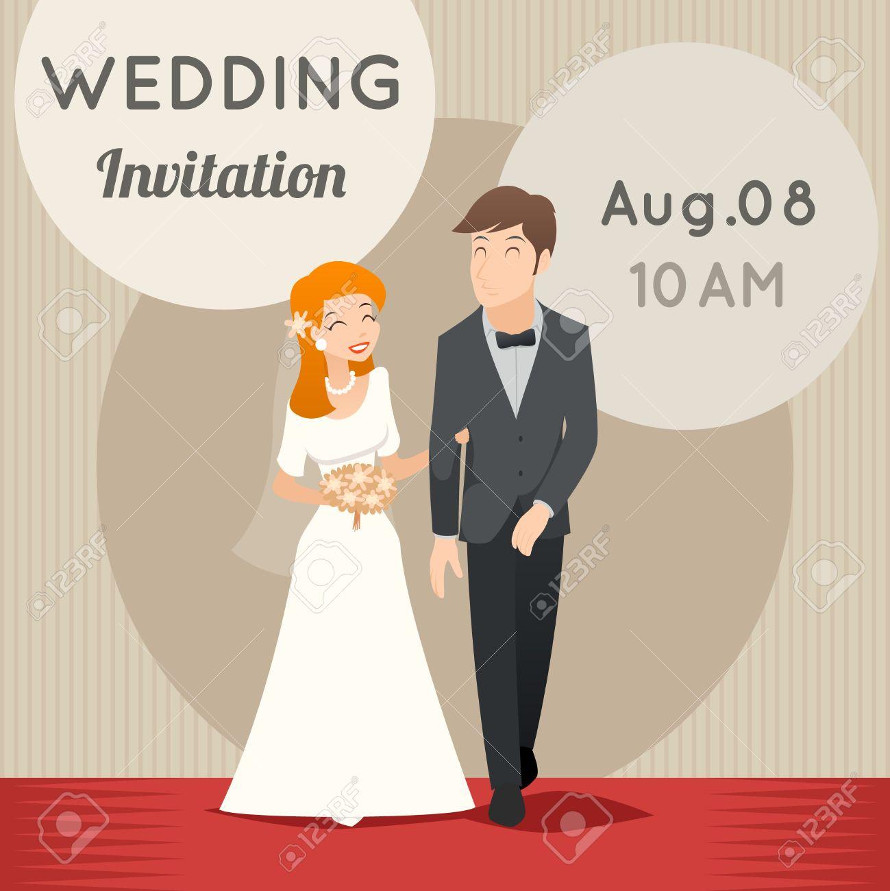 Bride And Groom. Vector Template Wedding Invitation. Love Marriage ...