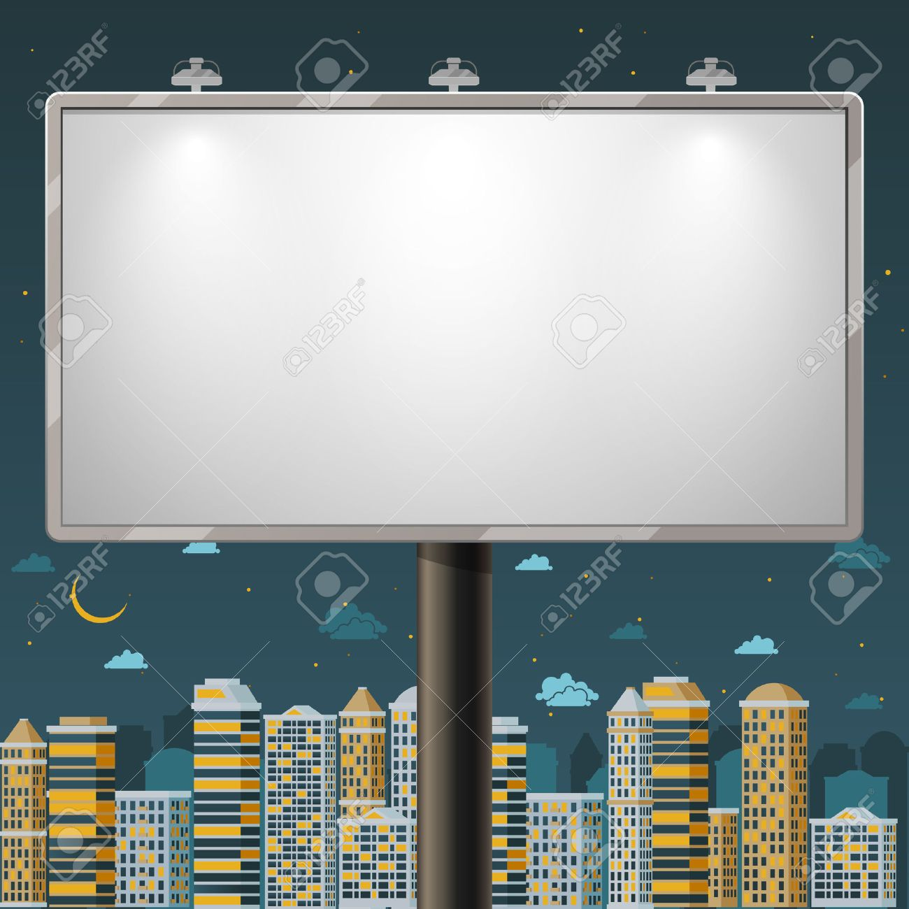 blank billboard at night time advertise commercial outdoor