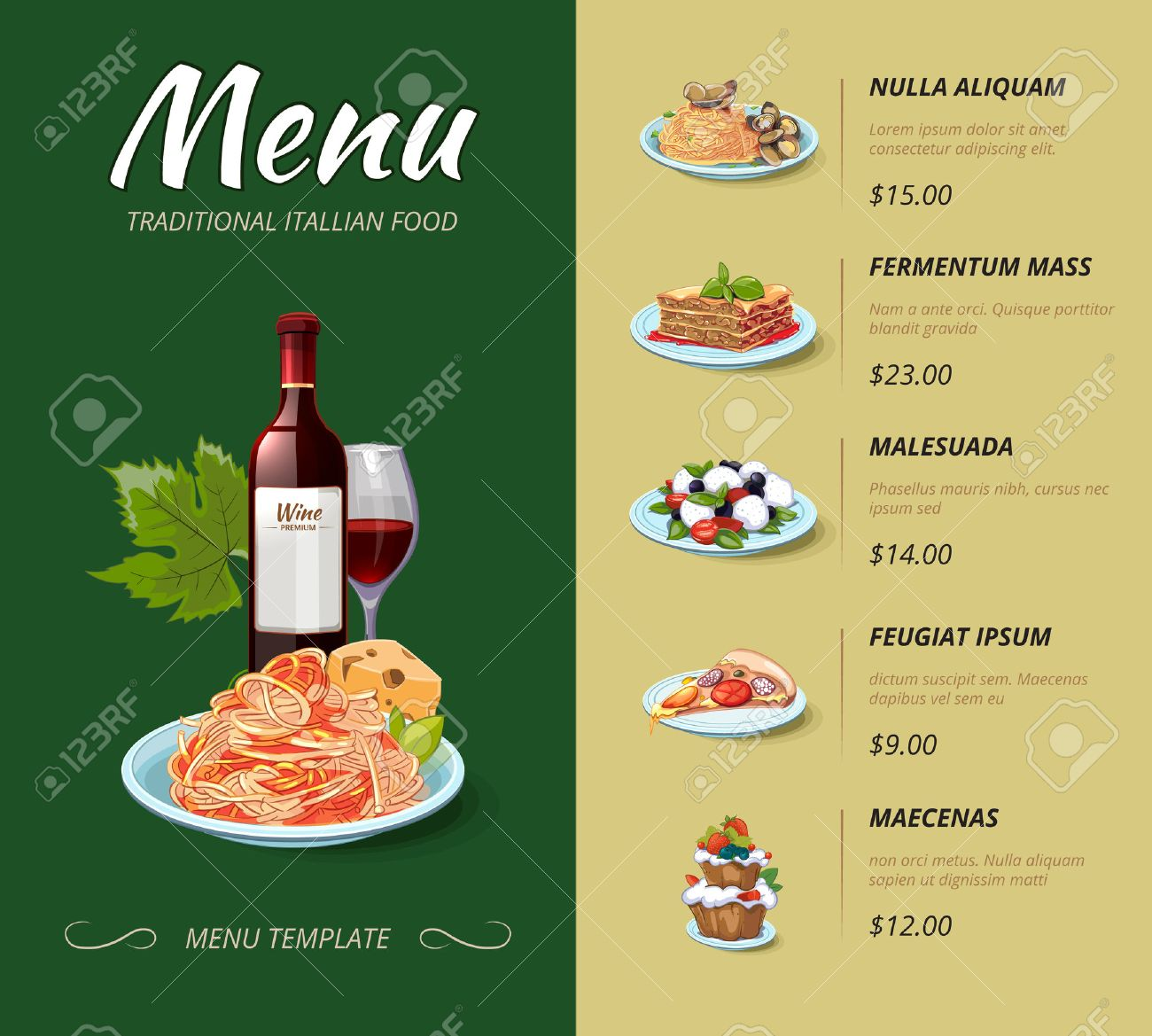 Italian cuisine restaurant menu. Food dinner, cooking lunch, pasta spaghetti, italy cheese illustration. Vector design template - 50636347