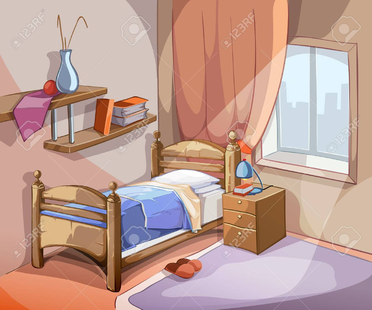 apartment style furniture. Bedroom Interior In Cartoon Style. Furniture Design Bed Indoor Apartment. Vector Illustration Stockfoto - Apartment Style